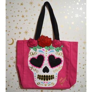 NWT Betsey Johnson Pink Sugar Skull Rose Tote